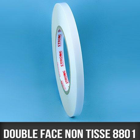 Rouleau d'adhésif double face non tissé  80µ 6mm
