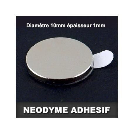 Néodyme avec adhésif Ø10mm Ep.1mm