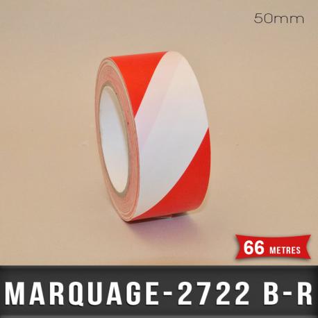 Bande signalisation adhésive Blanc/Rouge 50mm