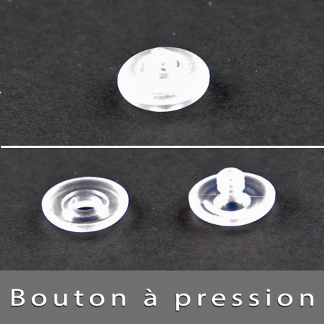 Bouton à pression transparent 2,5mm