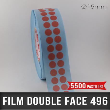 Pastille adhésive double face 200µ Ø15mm