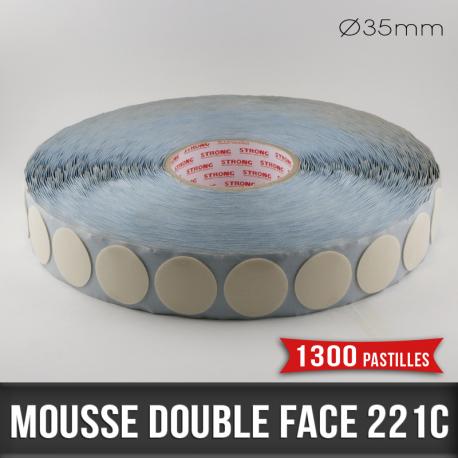 Pastille adhésive double face mousse 1mm Ø35mm
