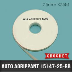 Auto agrippant adhésif Crochet 25mm X25M Blanc