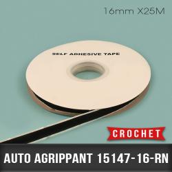 Auto agrippant adhésif Crochet 16mm X25M Noir