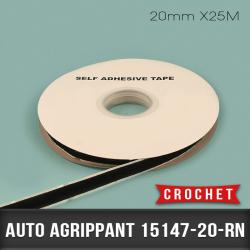 Auto agrippant adhésif Crochet 20mm X25M Noir