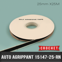 Auto agrippant adhésif Crochet 25mm X25M Noir