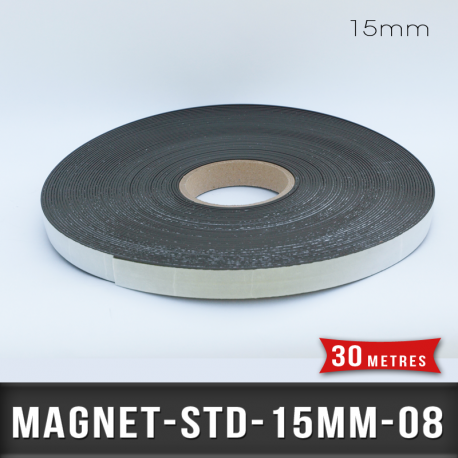 Aimant adhésif Ep 0,8mm l 15mm