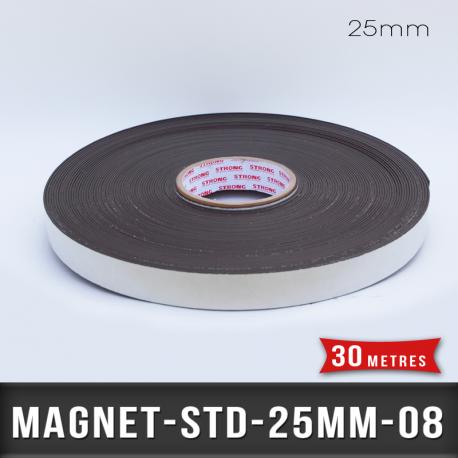 Aimant adhésif Ep 0,8mm l 25mm