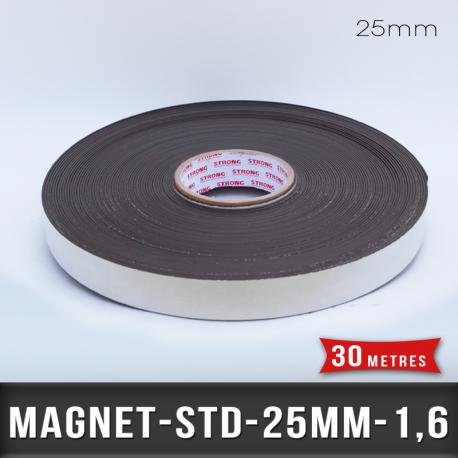 Aimant adhésif Ep 1,6mm l 25mm