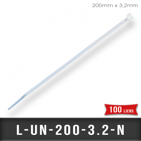 Lien de Fermeture nylon 200mm L3,2mm Naturel