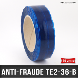 Rouleau adhésif anti-fraude 36mm Bleu