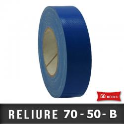 Simple face Plastifié PVC 50mm Bleu / Carton 10 rouleaux