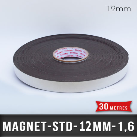 Aimant adhésif Ep 1,6mm l 12,7mm