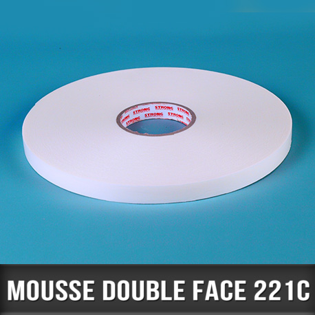 Mousse Blanche double face acrylique 1mm 19mm